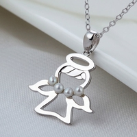 wholesale natural freshwater pearl 925 sterling silver pendant fantasy jewelry angel boy necklace pendant