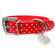 Rhinestone Bling Dog Collars Polka Dots Leather Pet Collars Neck Buckle Strap Crystal Collar for Pets Dog