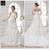 CH1833 Newest Arrival Beautiful A-line Ruffled Strapless Cheap Wedding Dresses 2014