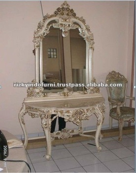 Silk Handmade Solid Wooden Console Table with Mirror