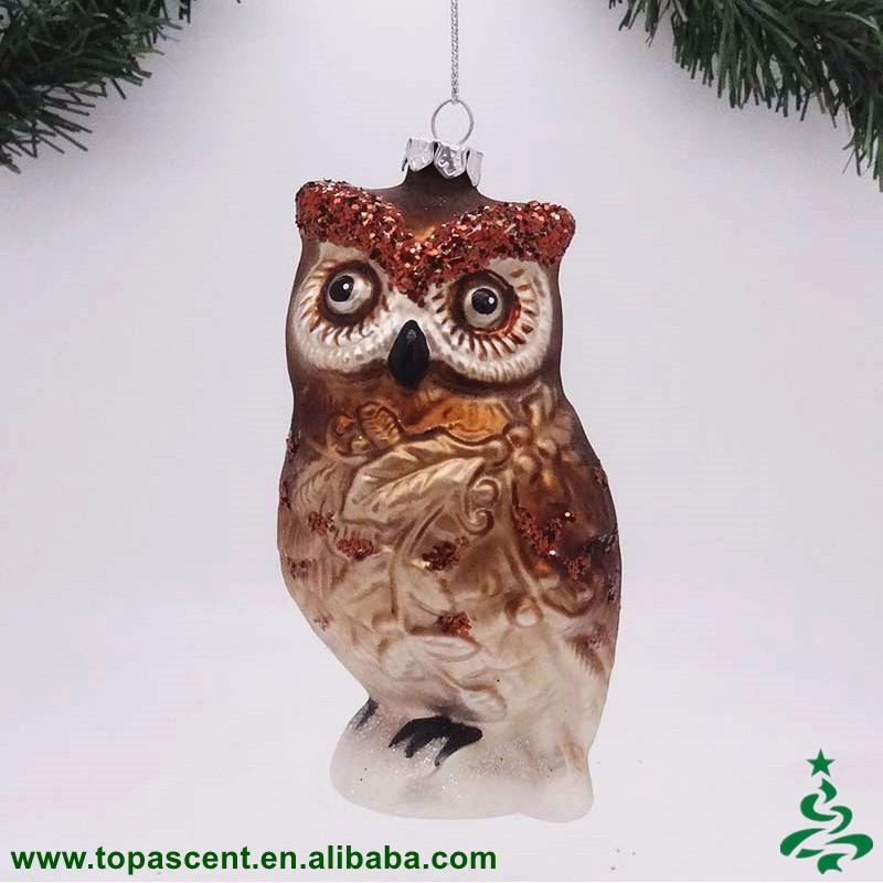 the interesting products owl made of painted glass ornament