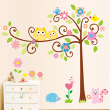 Hot sale removable kids room wall stickers tree owls