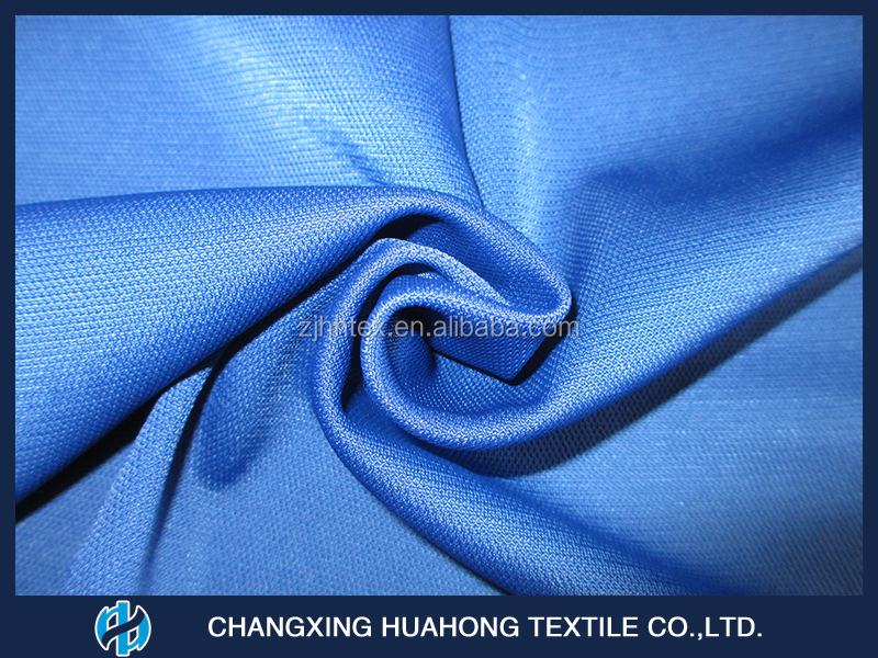 Anti-static and Dry fit polyester tricot mesh football jersey fabric from china manufacturer