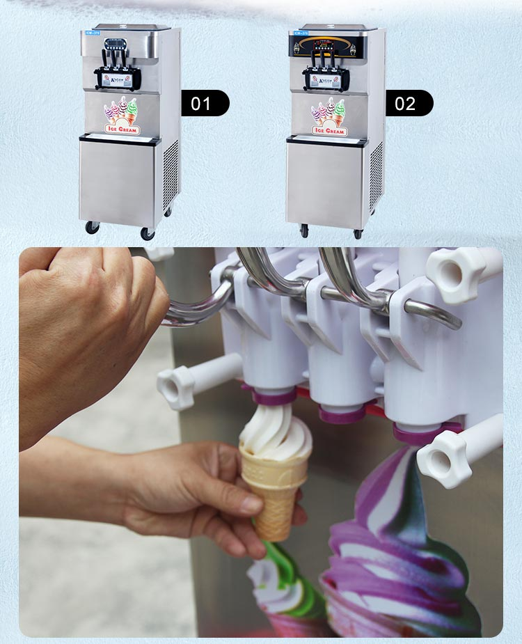 Three flavor soft serve ice cream maker machine (CE)