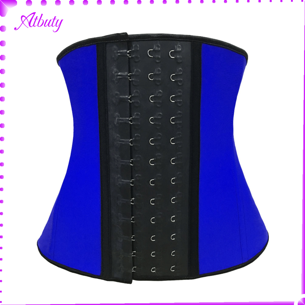atbuty blue waist training corset latex wholesale ann chery