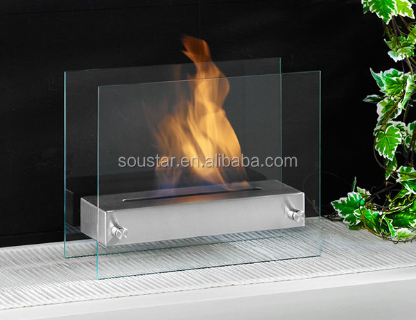 Stainless steel bio ethanol fireplace burner with glasses for protection