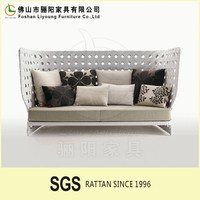 Foshan Furniture Factory Direct Selling Fashionable European Style Comfortable Soft White Rattan High Back Chesterfield Sofa