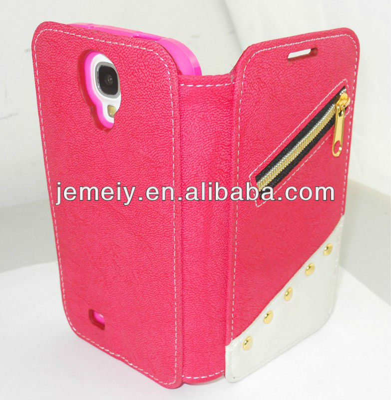 The unique wallet design soft leather case for samsung galaxy s4 i9500