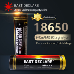 EAST DECLARE USB port 3400mAh 18650 li-ion rechargeable battery Flashlight Torch Protected Board Battery, LED Lamp