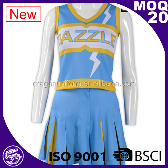 Custom Sublimation Blue Skirt Tank Top Two Pieces Sets Cheerleading Uniforms