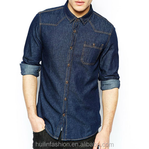 latest design wholesale shirt collar stiffener cowboy clothing denim men shirts