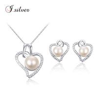 wholesale cheap 925 sterling silver pearl women earrings heavy necklace jewellery set P20110