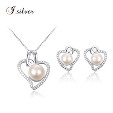 wholesale cheap 925 sterling silver pearl women earrings heavy necklace jewellery set P20110 & E20003
