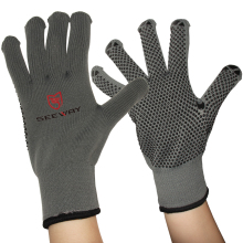 Seeway Light Double deck Nylon Knit Glove with Cotton Inner Layer and Grip PVC Palm
