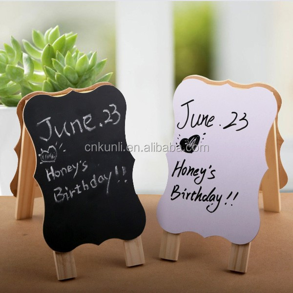 Mini Freestanding Wooden Easel Blackboard/chalk board & whiteboard
