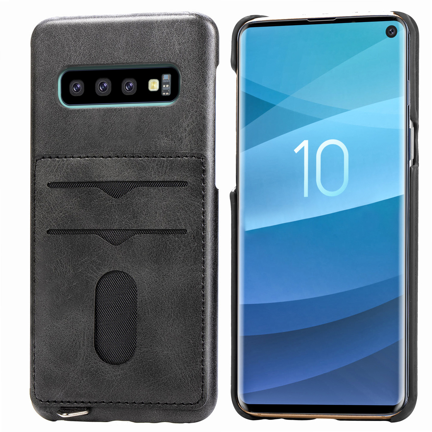 Card Slot Leather back cover for Samsung S10 S10 Plus S10e