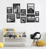 A4 Black MDF wood wall hanging Picture frames,8x10 Simple photo frame for home decor