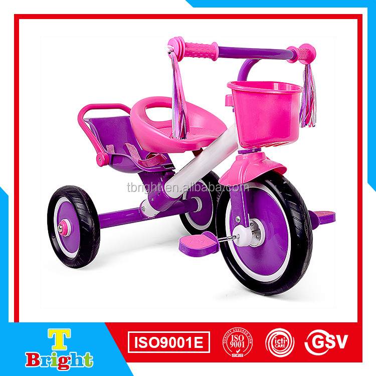 SF-13 Cheap Plastic Tricycle Kids Bike With Back Seat And EVA Wheel