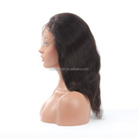 100% human virgin full lace wig , 20'' natural color unprocessed chinese virgin full lace wig with fringe