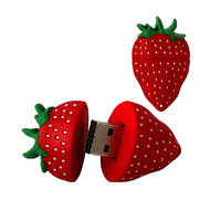Cute Cartoon Strawberry USB Flash Drive Pen Drive 4GB 8GB 16GB 32GB 64GB Pendrive Flash U Stick USB 2.0 Memory Stick