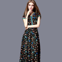 Europe boutique plus size women dress chiffion printing women dress latest fashion dress