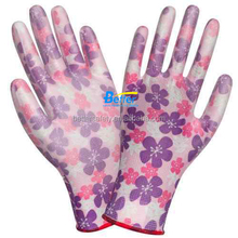 Pink Polyester Lined PU Dipped Gloves Work Women
