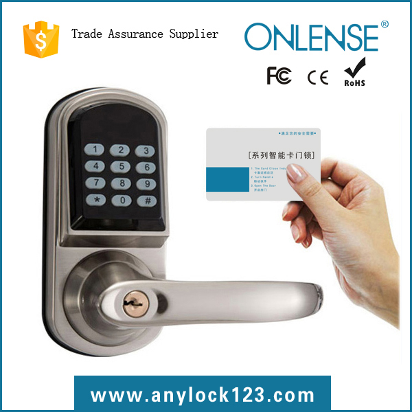 Apartment code gate lock with card key and deadbolt handle