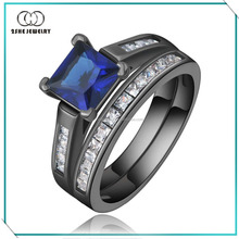 High Quality 925 silver black gold sapphire ring
