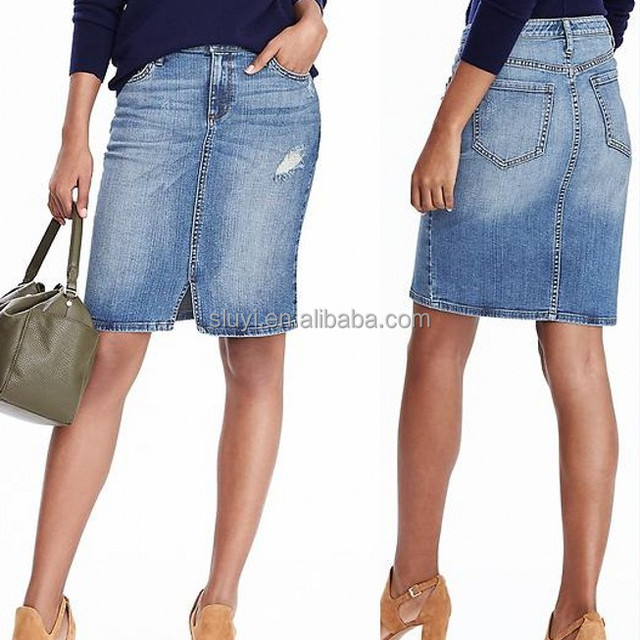 Medium Wash Denim Skirts Women Five Pocket Denim Fashion Skirt Girls Denim Modern Cutting Pencil Jean Skirts