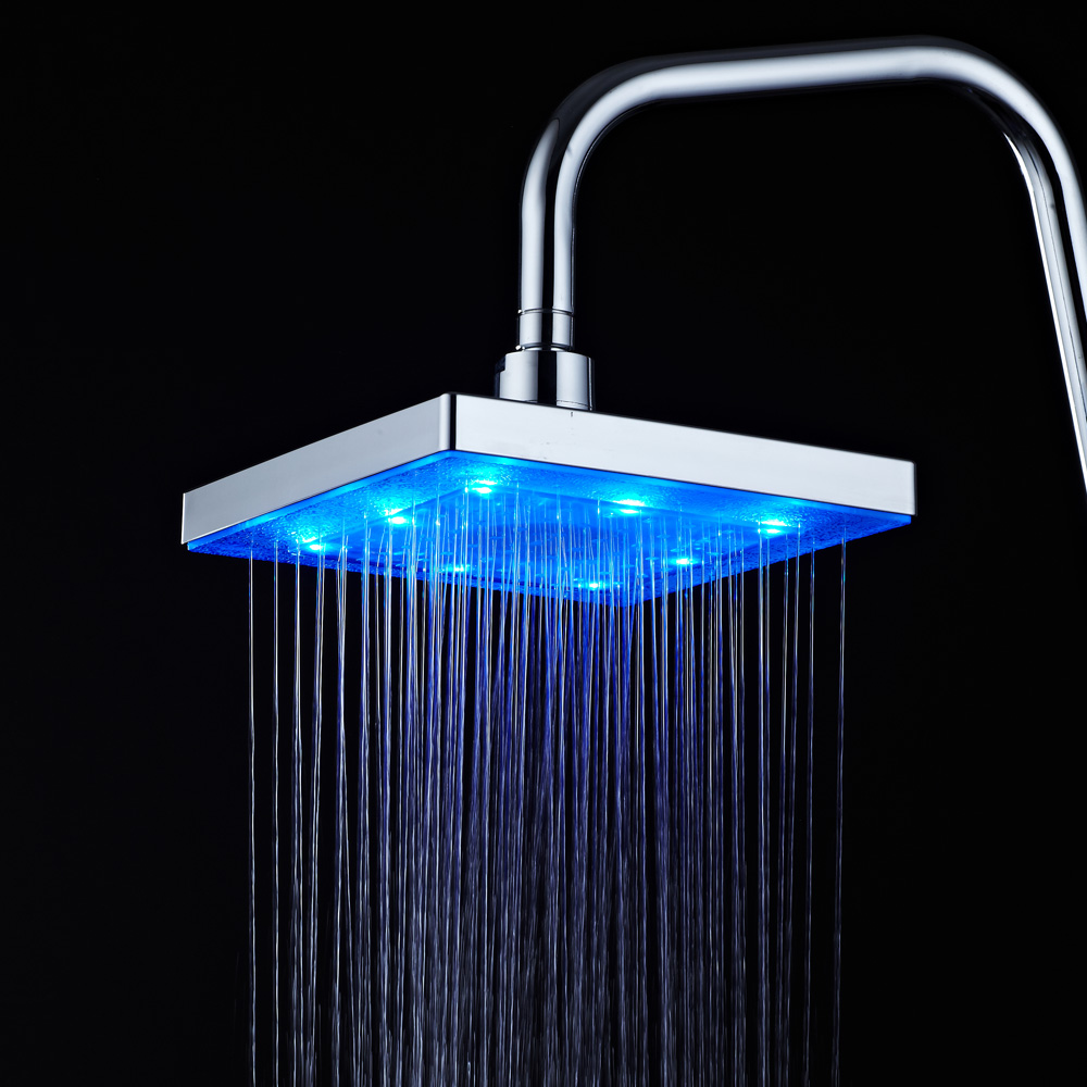 9 Inch ABS Plastic Chrome Plating 360 Degree Adjustable LED Light Shower Head RGB Overhead Shower With Temperature Sensor