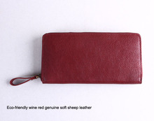 Multifunctional wallet pouch, beautiful wine red leather cluth bag, sheep leather women wallet