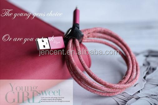high quality factory directly power cords jean leather usb cable for leather iphone 6 cable