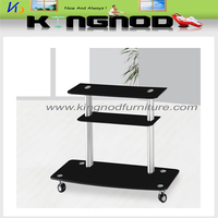 black painted glass black painted metal tubes lcd tv table glass tv stand with wheels