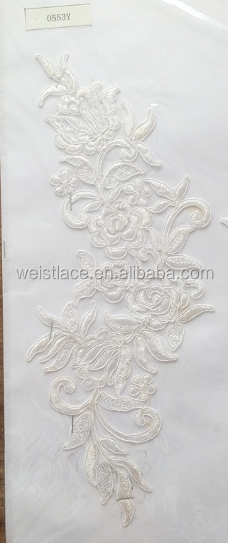 French Fabric Lace Flower Dress Material Sequined Appliqued Swiss Voile Lace /Vintage Wedding Lace Patches Embroidered with cord