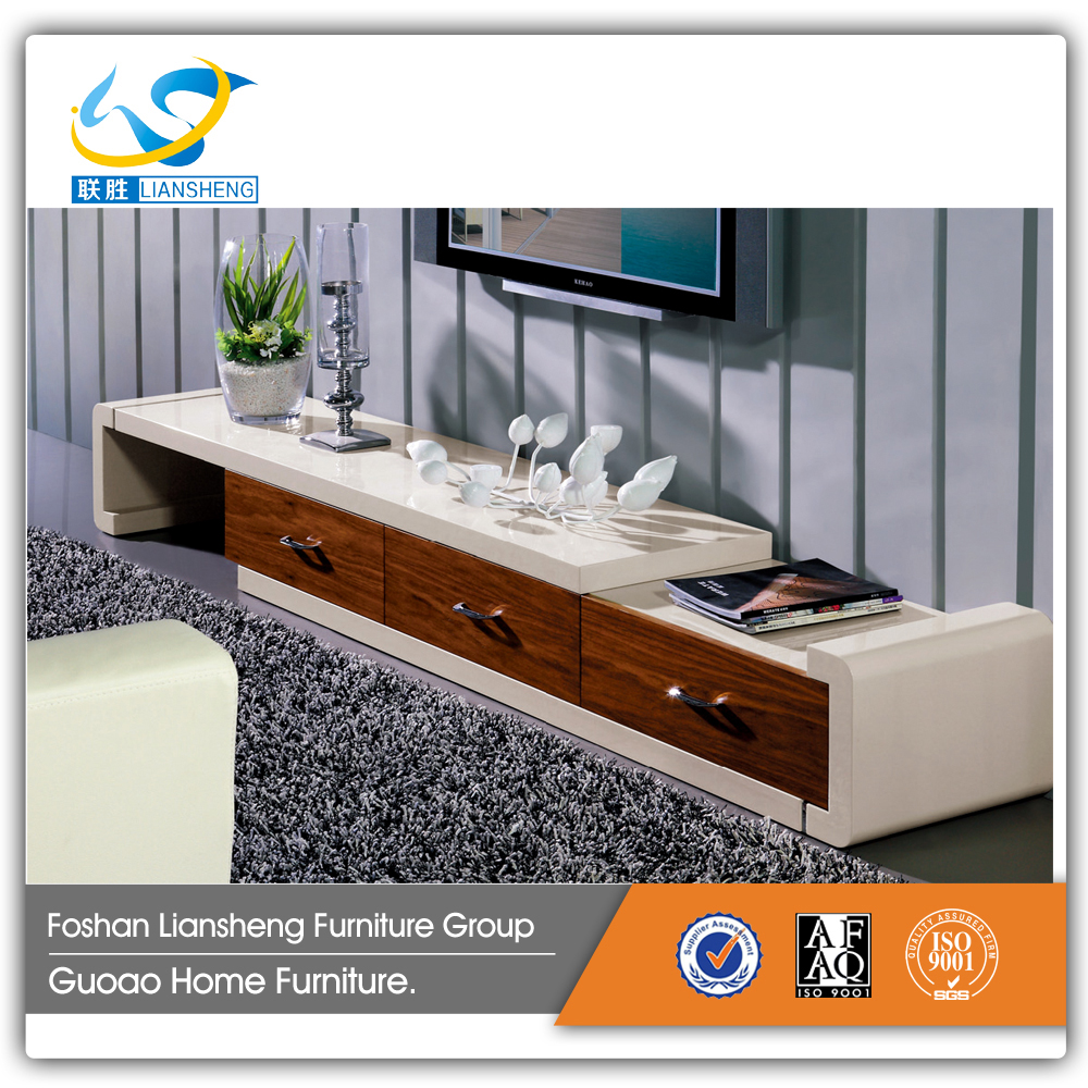 Modern tv console cabinet high quality simple white wooden glossy F3304
