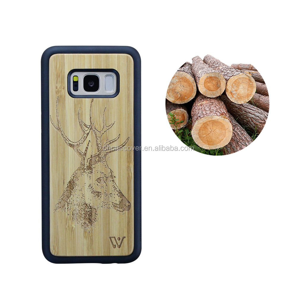 Winwin Mobile Phone Accessories Wooden Case, Two Parts Wood Back Cover for Samsung S8 Genuine Wood Case