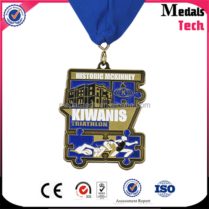 Swimming item antique bronze plated soft enamel metal new medal trophy with gift box