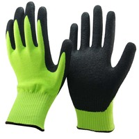 HUAYI Safety Cut and Chemical Resistant Sandy Nitrile Cut Resistant Gloves with Colored HPPE Shell