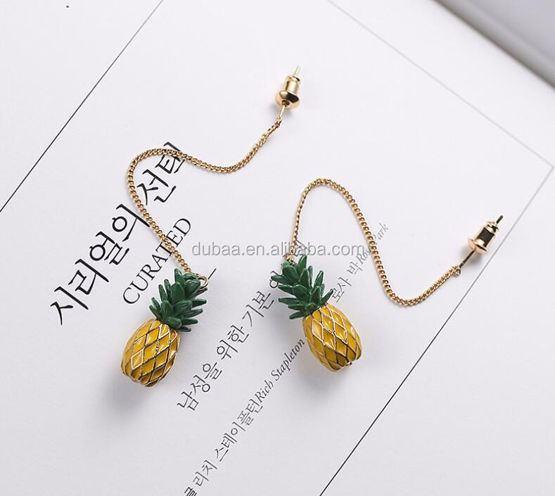 Unique Cute Pineapple Fruit Charm Fashion Earrings Chain Drop Pendant Stud Earrings Gift Earrings for Girls