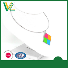 Customized trendy Zinc Alloy Metal fluorescent paint Square Shape Metal Craft Metal collar Chain Necklaces for women pendant
