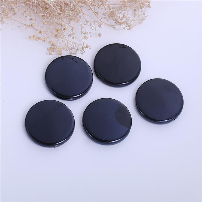 China Wholesale Flat Round Black Acrylic Beads