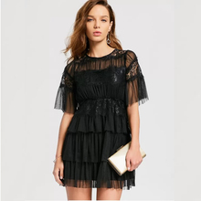 Round Collar Mini Party Evening Dresses Straight One Piece Layered Black Tulle Cocktail Dress