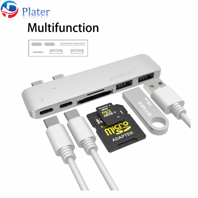 Aluminum Alloy silver color 6 in 2 USB C hub multiports USB 3.0/ type c adapter for Macbook 2016