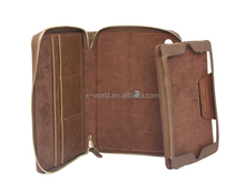 Vintage Leather 360 Degree Rotating Stand Portfolio Zip Case for iPad Mini 4