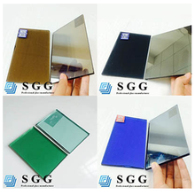 Tinted bronze green grey blue Excellence quality colored reflective glass cost