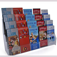 Acrylic Free Stand Pamphlet Brochure Dispenser 4 Tier 5 Line 20 Pockets Acrylic Multiple Pocket Leaflet Rack
