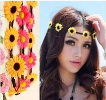 Flower Crown Festival Headband Wedding Boho Beach Floral Garland Hair Band Accessory