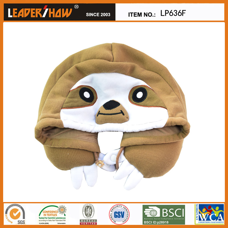 animal hooded neck cushion pillow(sloth)