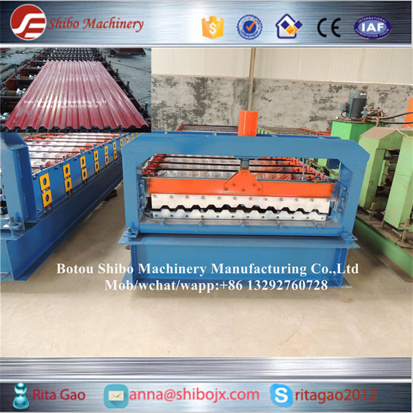 Manual decoiler and run out table for free Hydraulic trapezoid roofing sheet profile machine from SHIBO COMPANY