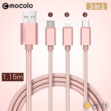 Mocolo Multi Nylon Braided Micro USB Charging Cable 3 in 1 usb cable for iPhone 6 6s 7plus